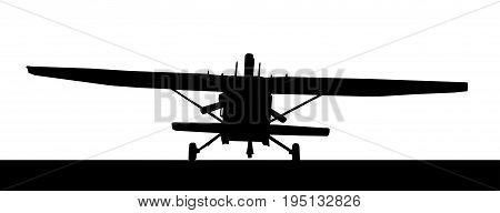 Front Profile Silhouette Of Landing X328 Atlas Angel Turbine Skydiving Equipped Aircraft