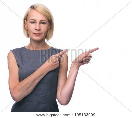 Beautiful Mid Aged Woman Pointing Finger In Side.