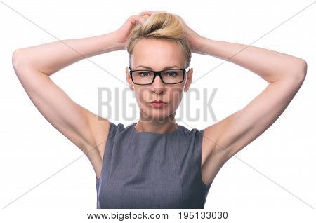 Cute Mid Age Business Woman With Glasses
