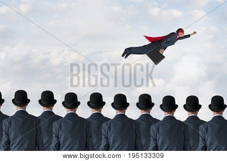 business progress concept superhero businessman flying past static competition