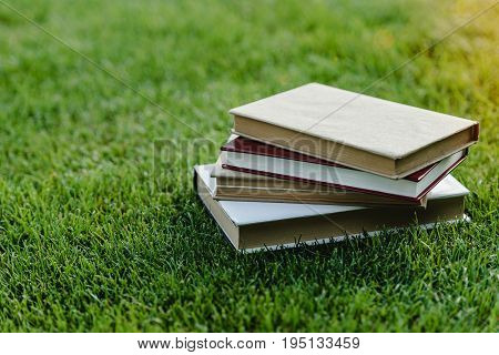 Close-up view of pile of books on green grass at sunset