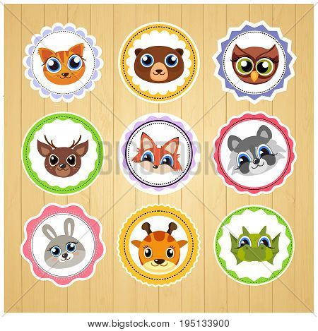 cartoon animal stickers. Suitable for decorating children s products. Vector art