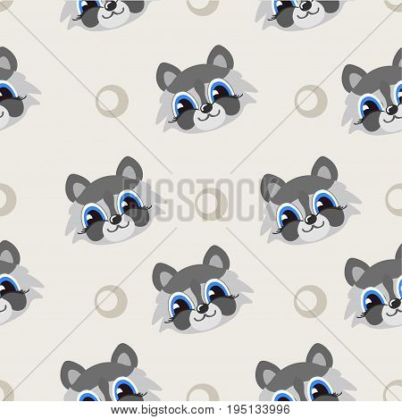 Vector seamless pattern with cute raccoons, Living decorative ornament. Childish background with cartoon character. Repeating texture with smiling animals.