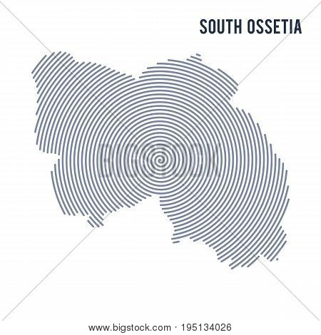 Vector Abstract Hatched Map Of South Ossetia With Spiral Lines Isolated On A White Background.
