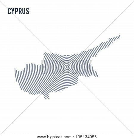 Vector Abstract Hatched Map Of Cyprus With Spiral Lines Isolated On A White Background.