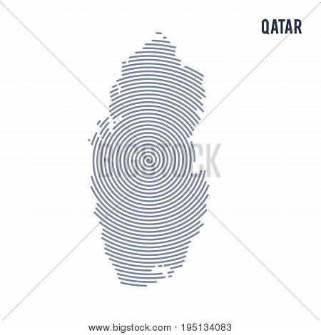 Vector Abstract Hatched Map Of Qatar With Spiral Lines Isolated On A White Background.