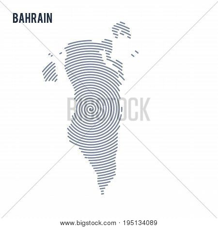 Vector Abstract Hatched Map Of Bahrain With Spiral Lines Isolated On A White Background.