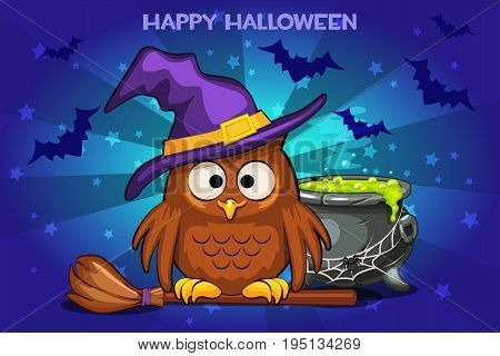 Cartoon funny owl and pot with Magic potion, set Illustration Happy Halloween
