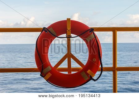 Safety equipment Lifebuoy or rescue buoy stand by sea to rescue people from drowning man on production platform Energy and petroleum industry sea offshore