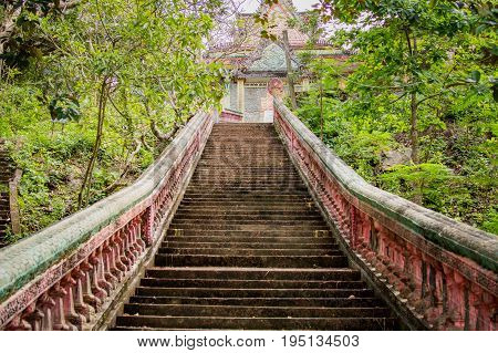 Stairway Going Up To The Buddhist Temple In Jungle Forest