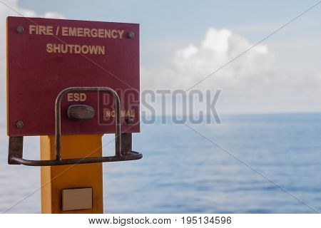 station of emergency shutdown the system on production platform Energy and petroleum industry sea offshore