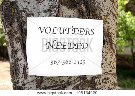 Announcement with text VOLUNTEERS NEEDED on tree
