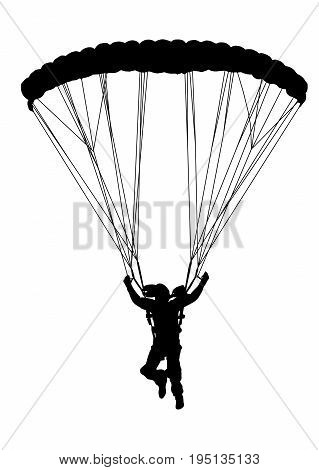Front Profile Silhouette Of Sky Diver With Open Parachute