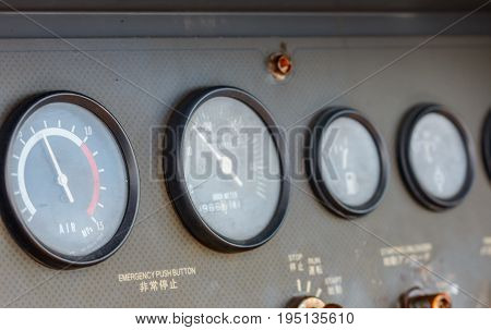 Pressure gauge for measuring pressure in the system Process used pressure gauge to monitor pressure condition inside the system on production platform Energy and petroleum industry sea offshore