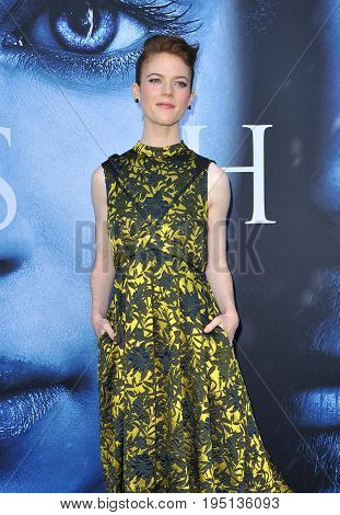 Rose Leslie at the HBO's 'Game Of Thrones' Season 7 premiere held at the Walt Disney Concert Hall in Los Angeles, USA on July 12, 2017.