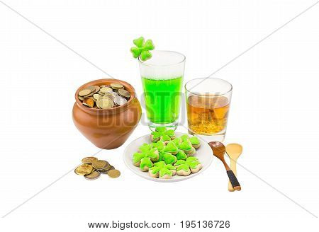 Clay pot full of beer money and a little whiskey Scotch tape clover wooden spoons for a small piece of wealth. Patrick saint day