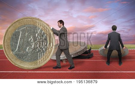 Businessman running on track with money concept