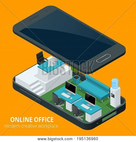 Online office concept. Isometric vector illustration office work, business concept, office furniture, workflow are isolated