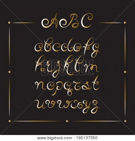Handwritten font. Gold letters. Cursive. The background is black. Modern calligraphy, italic font. Design for printing: logo, greeting cards, posters.