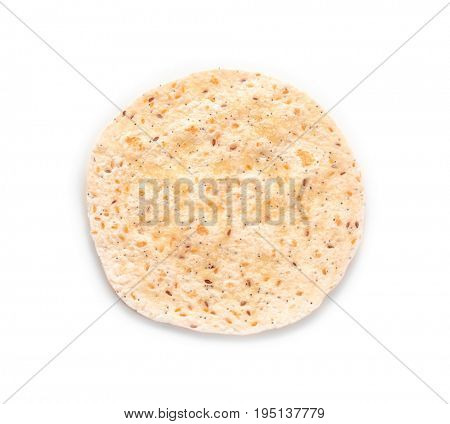 Flour tortilla isolated on white background