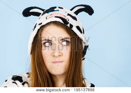 Woman Wearing Pajamas Cartoon Angry Expression