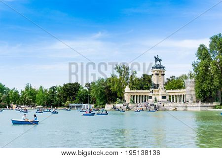 MADRID, SPAIN - April 20, 2017: Monumento Alfonso XII in madrid, Spain