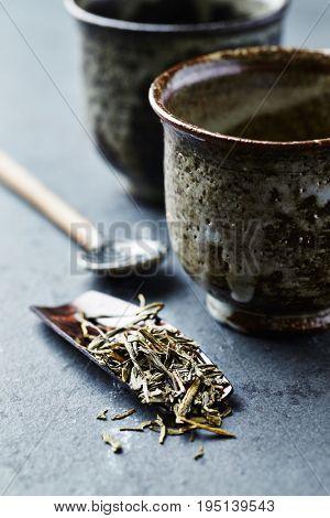 Sencha Green Tea on a wooden Measure