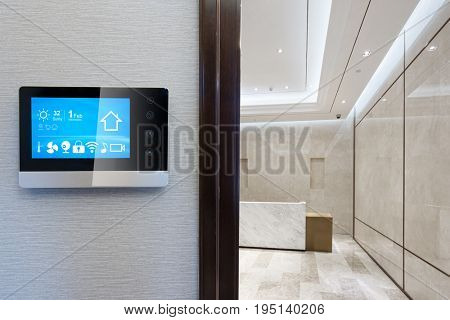 smart screen on smart home icons in modern reception desk of office building