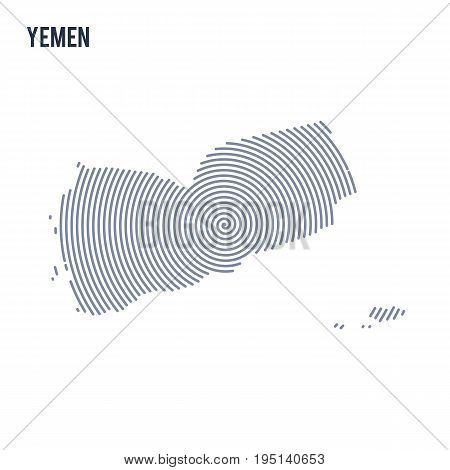Vector Abstract Hatched Map Of Yemen With Spiral Lines Isolated On A White Background.