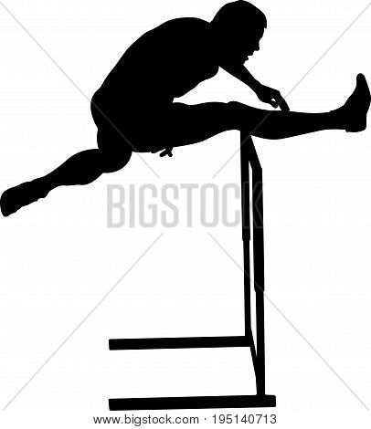crossing hurdles male runner athletics black silhouette poster