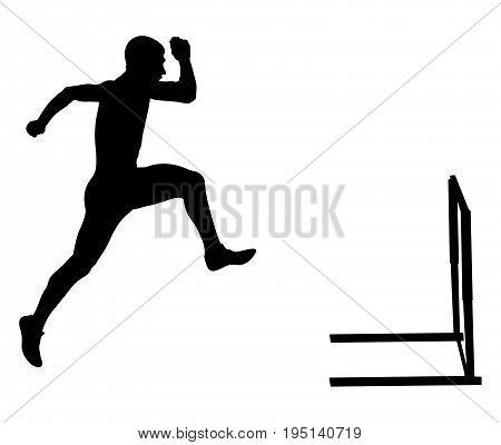 110 meters hurdles male runner athletics black silhouette