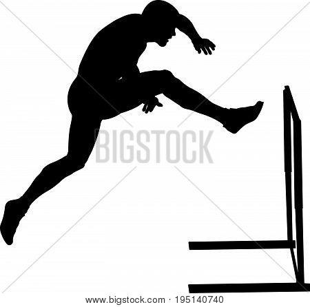 attack hurdles male athlete runner black silhouette