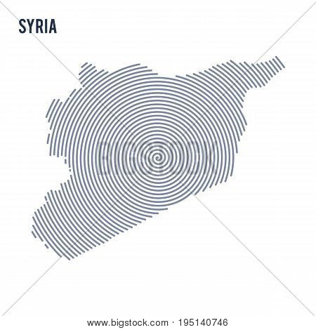 Vector Abstract Hatched Map Of Syria With Spiral Lines Isolated On A White Background.