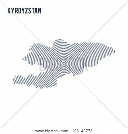 Vector Abstract Hatched Map Of Kyrgyzstan With Spiral Lines Isolated On A White Background.