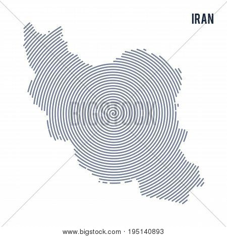 Vector Abstract Hatched Map Of Iran With Spiral Lines Isolated On A White Background.