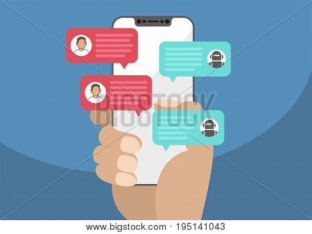 Man holding bezel-free / frameless smartphone in hand and chatting with chat bot robot. Chat messages notification on smartphone isolated on blue background