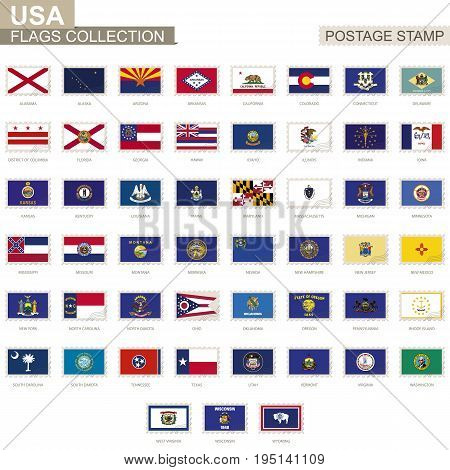 Postage Stamp With Usa State Flags. Set Of 51 Us States Flag.