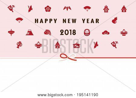 New Year card with Japanese new year elements for year 2018