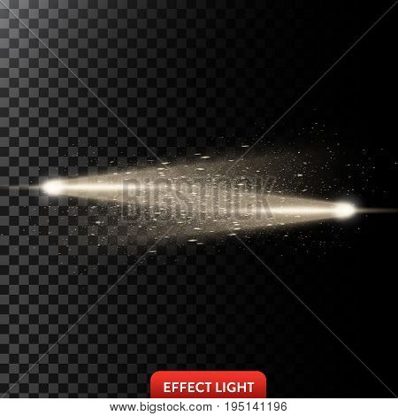 Vector illustration of a two golden light rays with glitter, a light beams with sparks, a glow effect, an explosion, a flash on a black background. Design element
