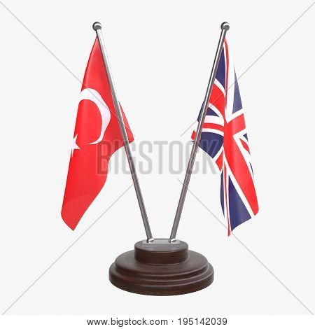 Turkey and Great Britain, two table flags isolated on white background. 3d image