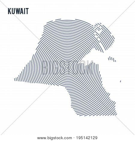 Vector Abstract Hatched Map Of Kuwait With Spiral Lines Isolated On A White Background.