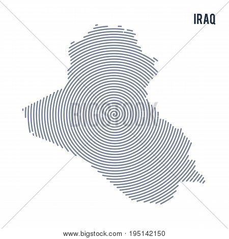 Vector Abstract Hatched Map Of Iraq With Spiral Lines Isolated On A White Background.