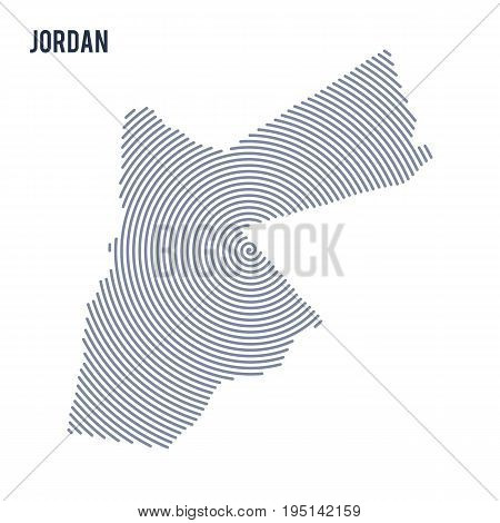 Vector Abstract Hatched Map Of Jordan With Spiral Lines Isolated On A White Background.