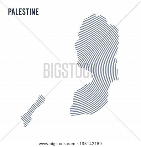 Vector Abstract Hatched Map Of Palestine With Spiral Lines Isolated On A White Background.