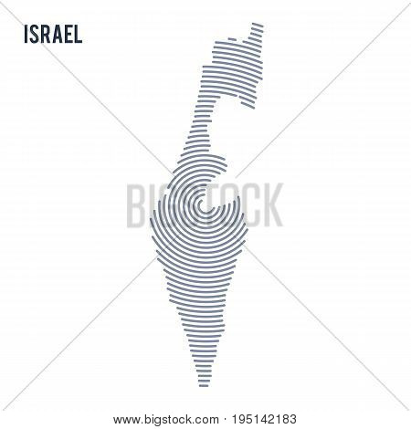Vector Abstract Hatched Map Of Israel With Spiral Lines Isolated On A White Background.
