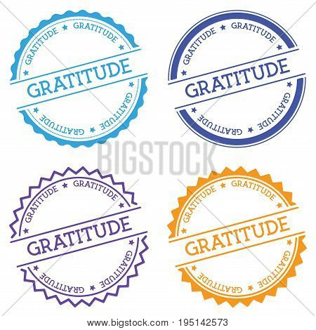Gratitude Badge Isolated On White Background. Flat Style Round Label With Text. Circular Emblem Vect