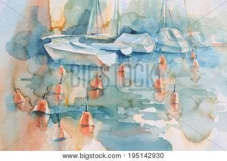 Boats and buoys in Helsinki watercolor background