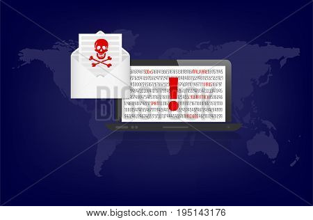 Notebook and envelope with warning of cybercrime danger - global threat. Vector illustration.