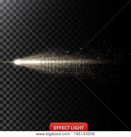 Vector illustration of a golden light ray with glitter, a light beam with sparks, a glow effect, an explosion, a flash on a black background. Design element