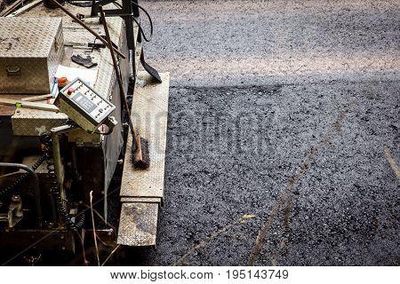 Asphalt Finisher, Paver Constructing A Asphalt Road
